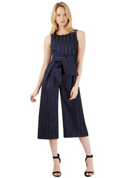 Closet London - Black And Navy Striped Tie Front Culotte Jumpsuit