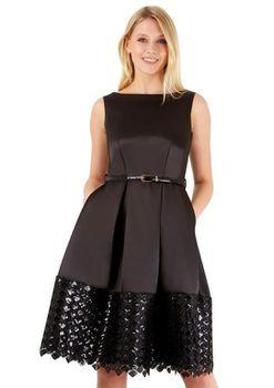 Closet London - Black Belted V-Back Pleated Contrast Lace Hem Dress
