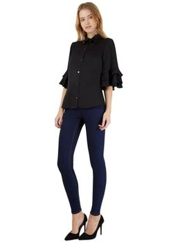 Closet London - Black French Sleeve High Collar Blouse