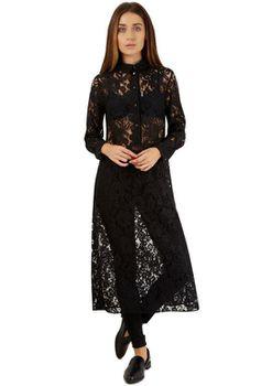 Closet London - Black Long Lace Shirt With Side Splits
