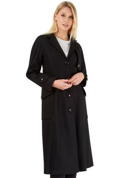 Closet London - Black Long Single Breasted Military Style Wool Coat