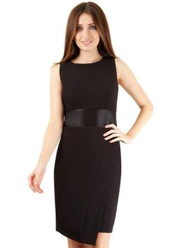 Closet London - Black Sleeveless Black Waistband Bow Tie Back Dress