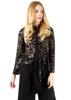 Closet London - Black Tie Neck Long Sleeve Sequin Blouse
