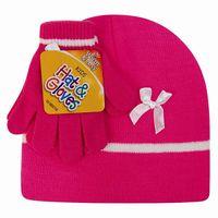 Girls Beanie Hat & Glove Set - Pink