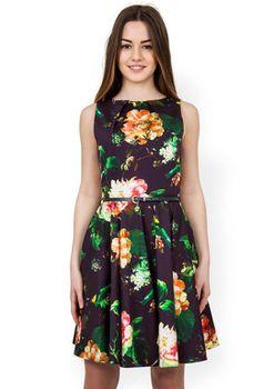Closet London - Bloomsbury Multi Floral Skater Dress