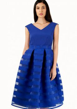 Closet London - Blue 2 In 1 Organza Stripe Dress