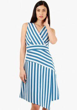 Closet London - Blue And White V Neck Assymetric Skirt Dress