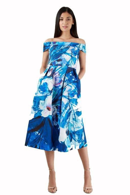 Closet London   Blue Floral Print Bardot Dress ...