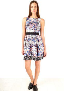 Closet London - Blue Multi Floral Print Lace Back Dress