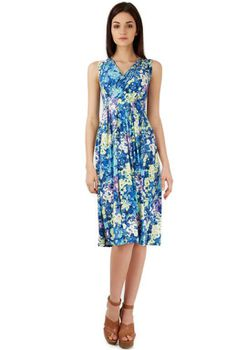 Closet London - Blue Multi Floral V Neck Midi Dress