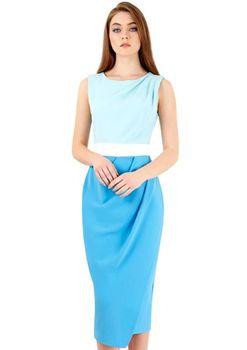 Closet London - Blue Tri Colour Drape Skirt Dress