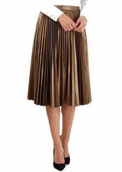 Closet London - Bronze Metallic Pleated Midi Skirt