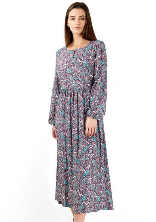 Closet London   Burgundy And Turquoise Paisley Long Sleeve Midi Dress ...