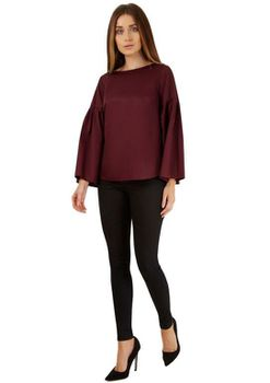 Closet London - Burgundy Wide Sleeve Blouse
