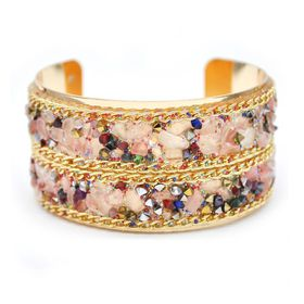 Lily & Rose Yellow Gold Plated Cuff Bangle with Purple & Pink - TLBR010