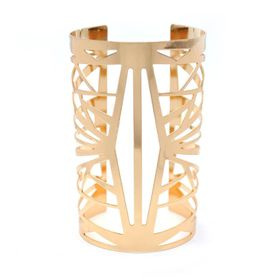 Lily & Rose Yellow Gold Plated Broad Arm Cuff with Geometric - TLBR013