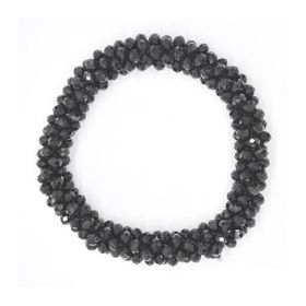 Lily & Rose Black Faceted Bead Stretch Bangle - TLBR018