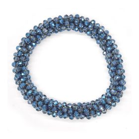 Lily & Rose Blue Faceted Bead Stretch Bangle - TLBR020