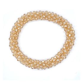 Lily & Rose Champange Coloured Faceted Bead Stretch Bangle - TLBR021