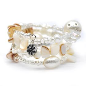 Lily & Rose Spiral Bangle, With Mixed Beads Of Pearl Balls - TLBR023