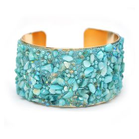 Lily & Rose Yellow Gold Plated Cuff Bangle With Semi Precious Stone - TLBR025