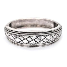 Lily & Rose Silver Plated Hinged Bangle With Liner Criss-Cross Design & Decorative Border - TLBR033