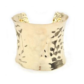 Lily & Rose 1X Broad Concave Shaped Gold Plated Bangle With Beaten Texture (Open Back) - TLBR034