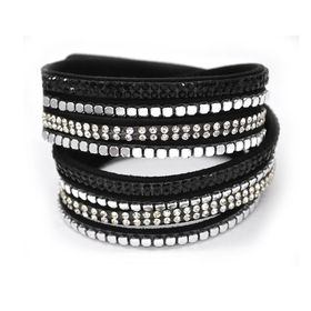 Lily & Rose Black Wrap Bangle With Square Silver Studs, Diamante Stones & Black Diamante Stone Detail - TLBR047