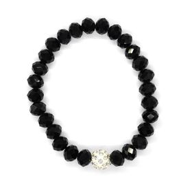 Lily & Rose Black Faceted Bead Bangle With Glitter Ball - TLBR055