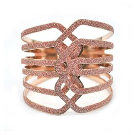 Lily & Rose Rose Gold & Glitter Bangle In Linear Pattern - TLBR058