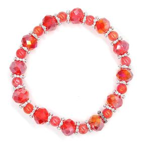 Lily & Rose Burnt Orange Faceted Bead With Silver Ball Design Spacer - TLBR063