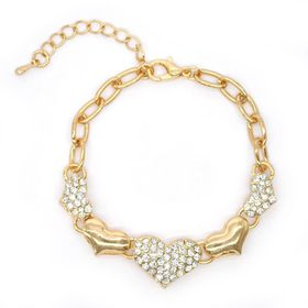 Lily & Rose Gold Plated Oval Link Bracelet, With 3X Small Diamante Encrusted Hearts & 2X Gold Plated Domed Hearts - TLBR069