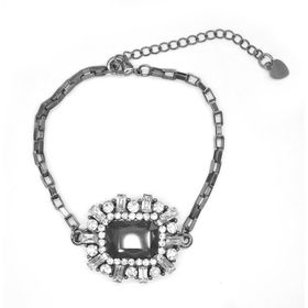 Lily & Rose Rectangular Box Chain In Gun Metal Colour With A Multi Shaped Diamante & Black Rectangular Shaped Decorative Top - TLBR070