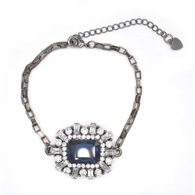 Lily & Rose Rectangular Box Chain In Gun Metal Colour With A Multi Shaped Diamante & Blue Faceted Stone - TLBR071