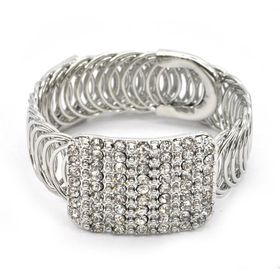Lily & Rose Silver Plated Large Round Interlinked Link Bangle With Rectangular Diamante Top - TLBR072