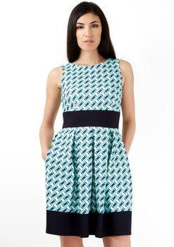 Closet London - Green Navy Geometric Print Contrast Hem Dress