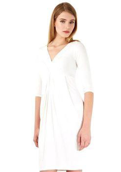 Closet London - Ivory Gathered Long Sleeve Jersey Dress