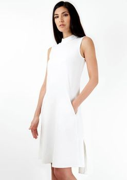 Closet London - Ivory Sleeveless Collar Tunic Dress