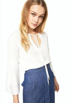 Closet London - Ivory Tie Neck Top with Flute Sleeves