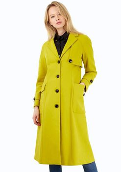 Closet London - Lime Long Single Breasted Military Style Wool Coat