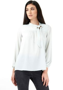 Closet London - Mint Pussy Bow Long Sleeved Blouse