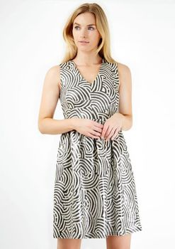 Closet London - Monchrome Swirl V-Neck Metallic Full Dress