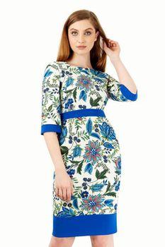 Closet London - Multi Floral Contrast 3/4 Sleeve Dress