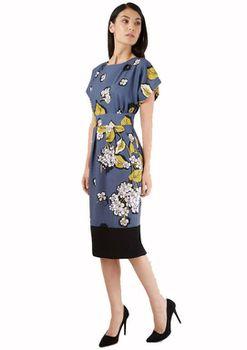 Closet London - Multi Floral Midi Contrast Hem Dress