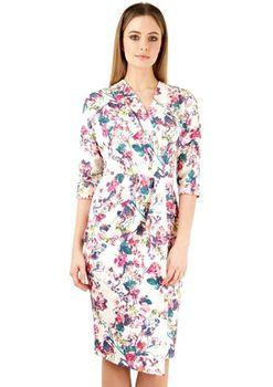 Closet London - Multi Floral Print Scuba Wrap Dress