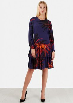 Closet London - Multi Leaf Gathered Hem Long Sleeve Dress
