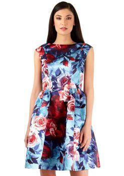 Closet London - Multi Panel Gathered Floral Print Dress