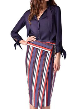 Closet London - Multi Stripe Asymetric Midi Skirt