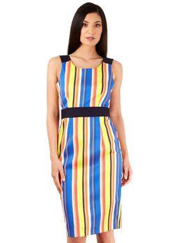 Closet London - Multi Stripe Contrast Pencil Dress