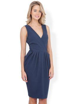Closet London - Navy Cross Over Big Pocket Dress